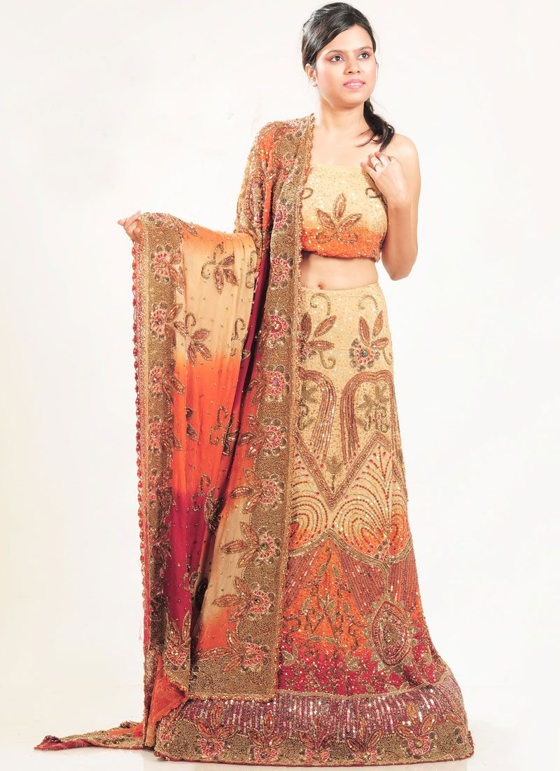 Multi Colour Faux Crepe Lehenga Choli