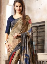 Multi Colour Faux Crepe Party Casual Saree