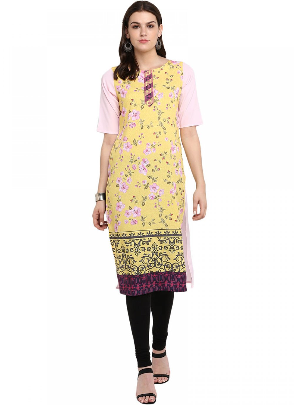 Multi Colour Faux Crepe Print Casual Kurti
