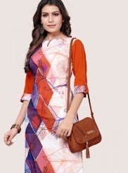 Multi Colour Faux Crepe Printed Casual Kurti