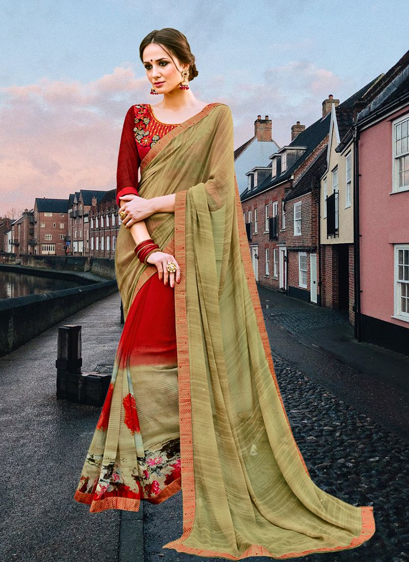 Multi Colour Faux Georgette Abstract Print Printed Saree