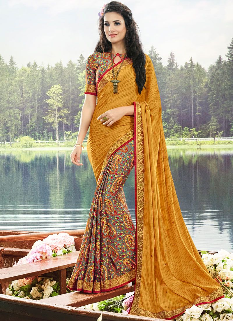 Multi Colour Faux Georgette Casual Printed Saree