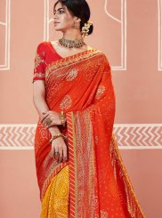 Multi Colour Faux Georgette Festival Shaded Saree