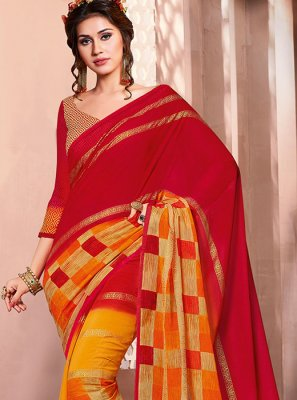Multi Colour Faux Georgette Foil print Casual Saree