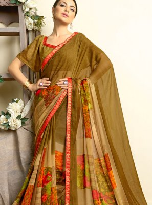 Multi Colour Faux Georgette Printed Casual Saree