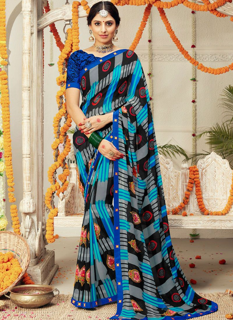 Multi Colour Faux Georgette Trendy Saree