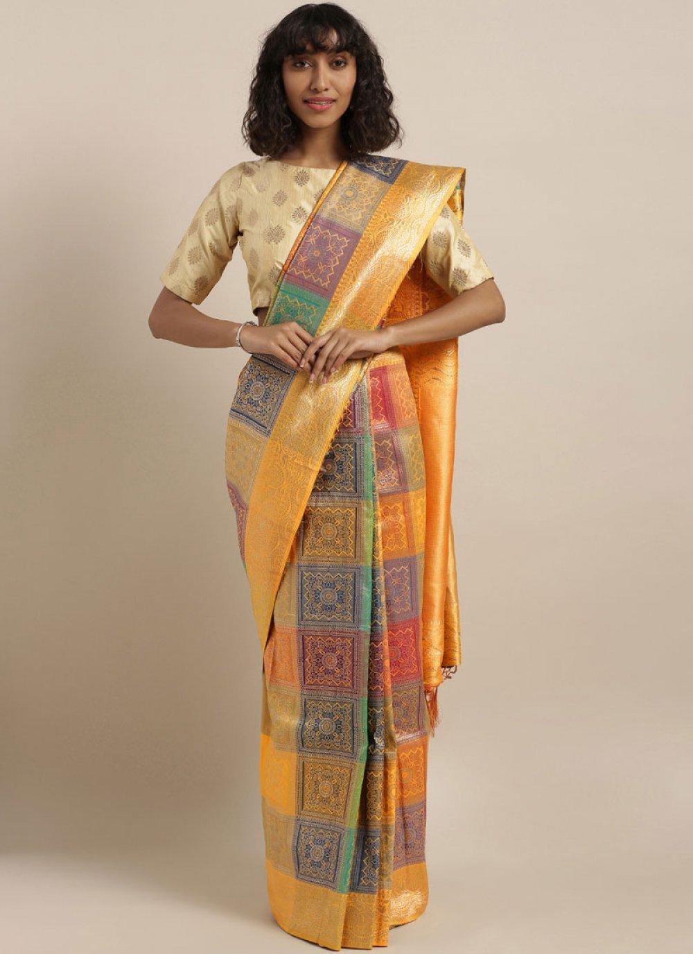 Multi Colour Festival Banarasi Silk Traditional Designer Saree