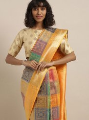 Multi Colour Festival Banarasi Silk Traditional Designer Saree