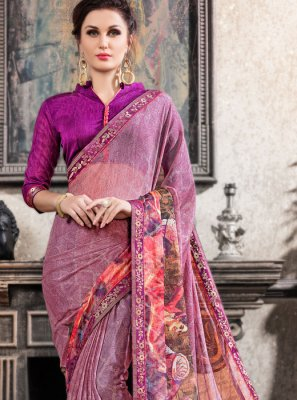 Multi Colour Festival Faux Chiffon Printed Saree