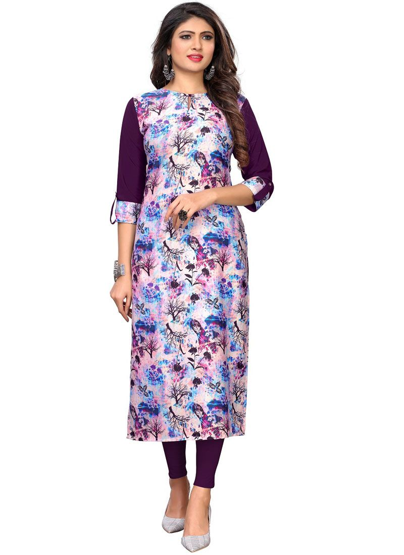 Multi Colour Festival Faux Crepe Casual Kurti