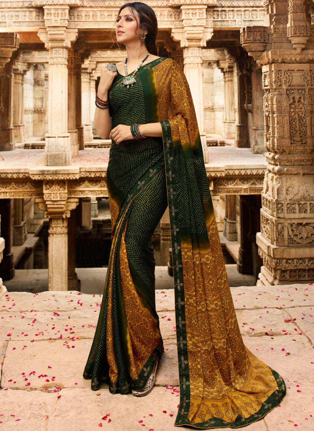 Multi Colour Festival Printed Saree
