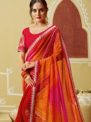 Multi Colour Georgette Printed Saree