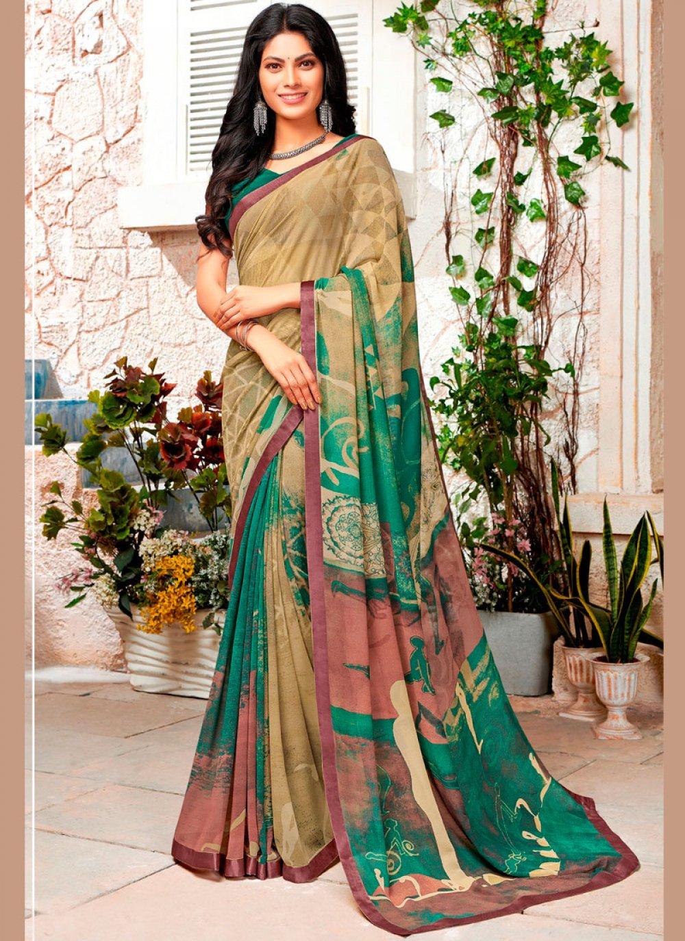 Multi Colour Georgette Printed Trendy Saree