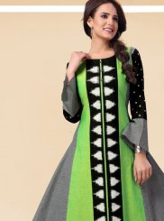 Multi Colour Handloom silk Printed Casual Kurti