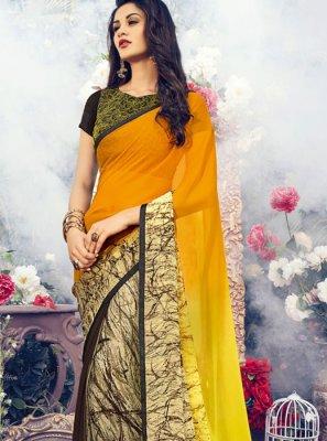 Multi Colour Handwork Mehndi Classic Designer Saree