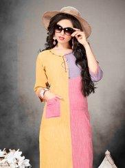 Multi Colour Khadi Print Party Wear Kurti