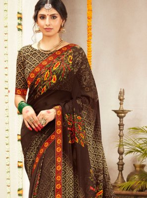 Multi Colour Lace Faux Georgette Classic Saree