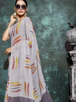 Multi Colour Linen Abstract Print Printed Saree