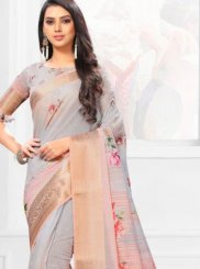 Multi Colour Linen Digital Print Casual Saree