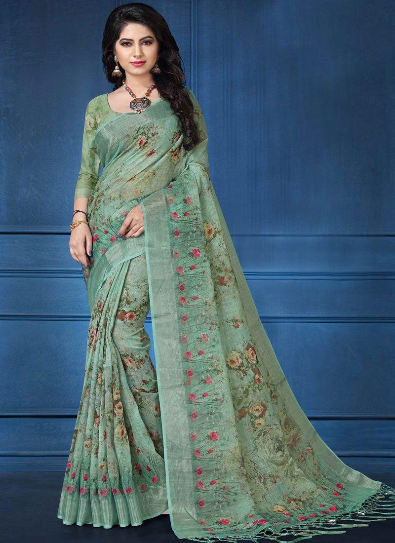 Multi Colour Linen Digital Print Printed Saree