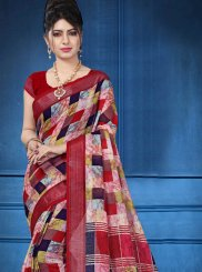 Multi Colour Linen Digital Print Printed Saree