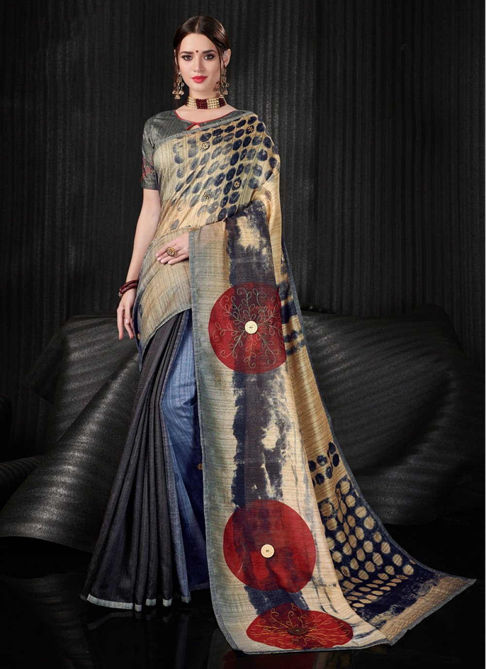 Multi Colour Linen Festival Printed Saree
