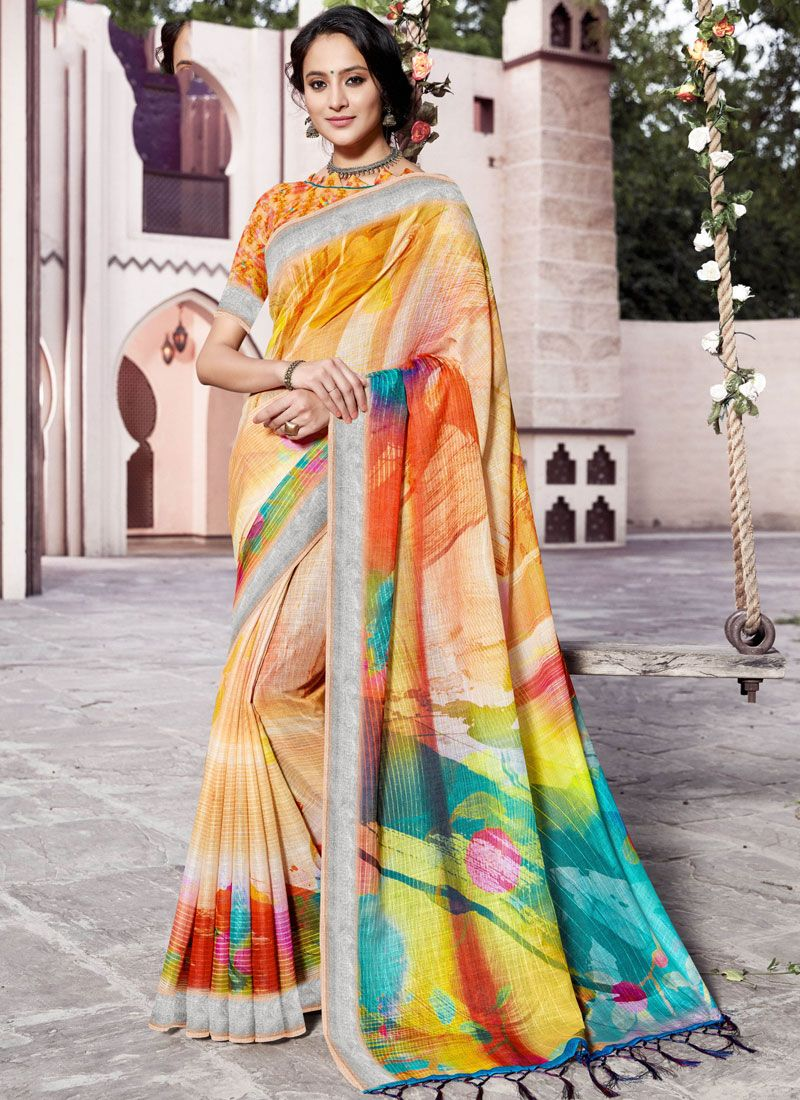 Multi Colour Linen Festival Trendy Saree