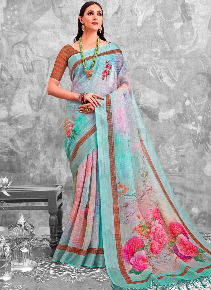 Multi Colour Linen Party Printed Saree