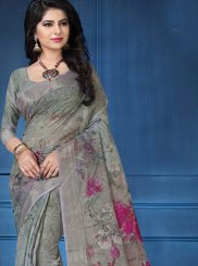 Multi Colour Linen Printed Saree
