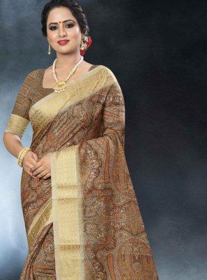 Multi Colour Linen Sangeet Classic Designer Saree
