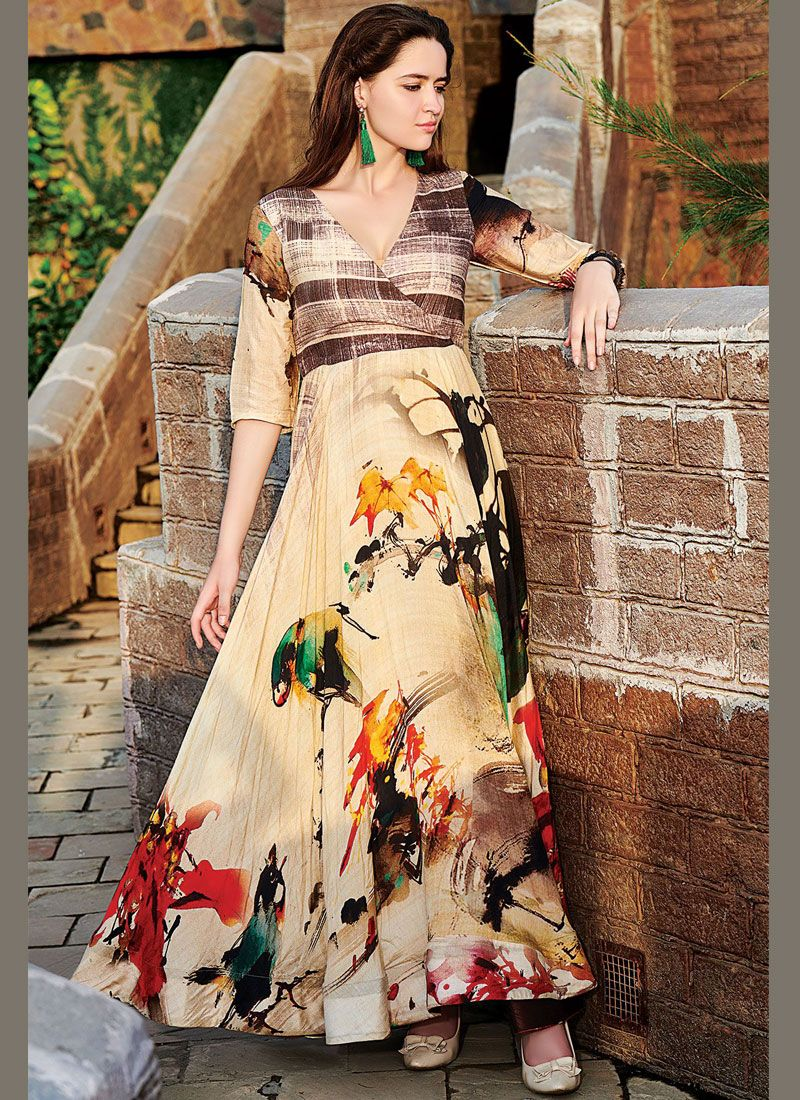 Multi Colour Maslin Silk Designer Gown