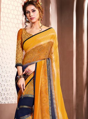 Multi Colour Mehndi Casual Saree