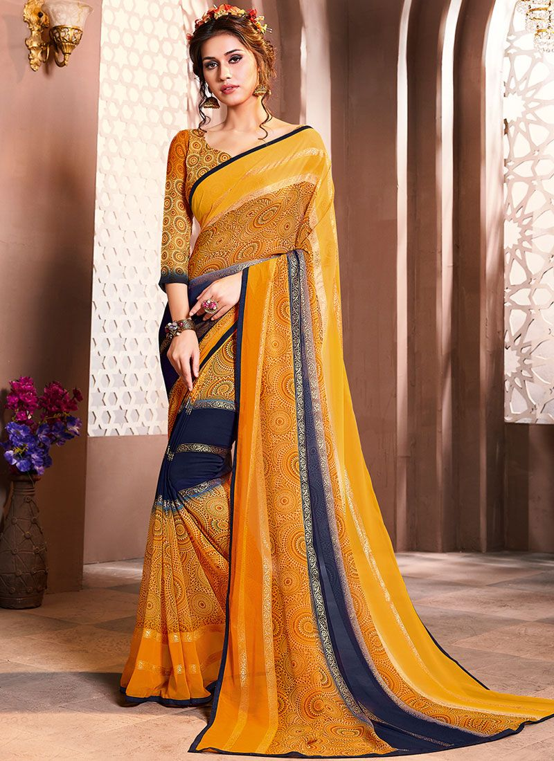 Multi Colour Mehndi Casual Saree