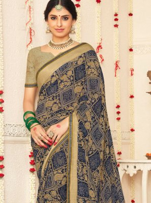 Multi Colour Mehndi Faux Georgette Traditional Saree