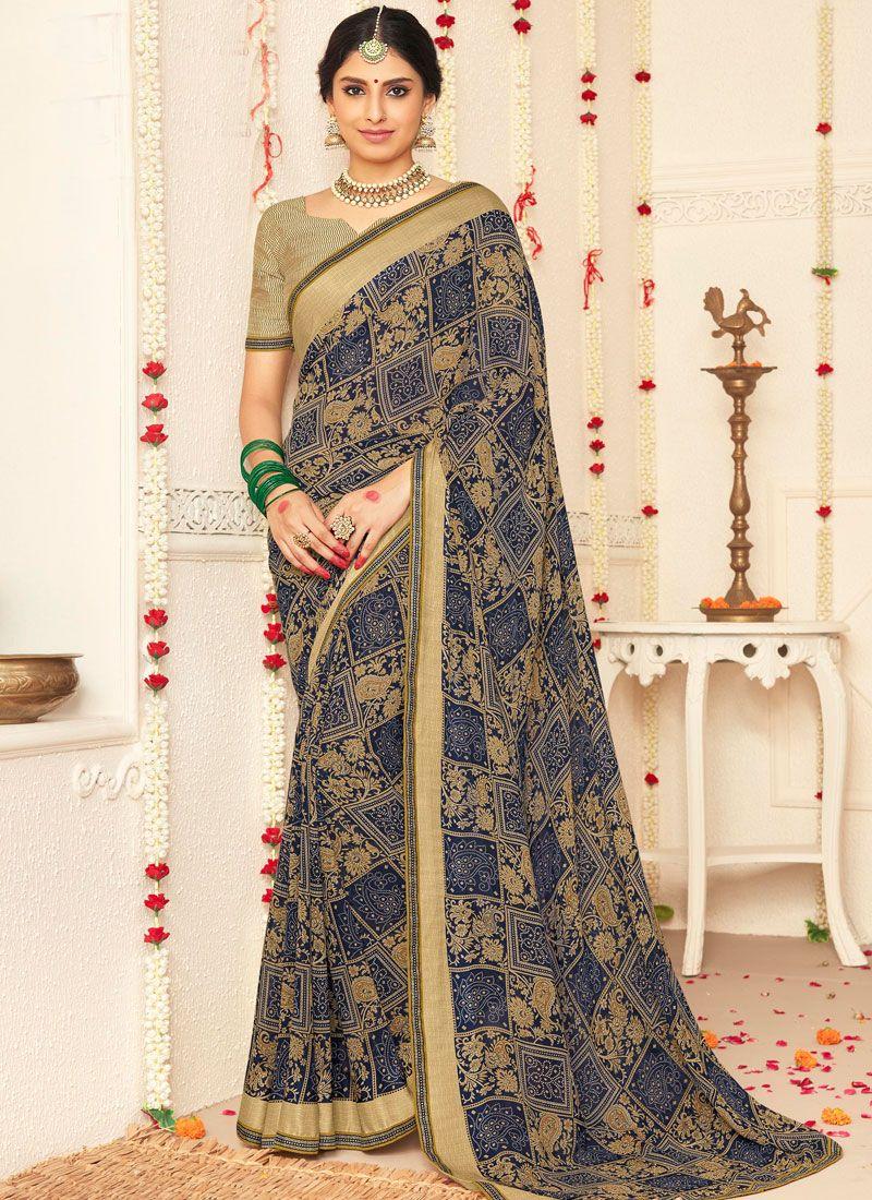 Multi Colour Mehndi Faux Georgette Traditional Saree