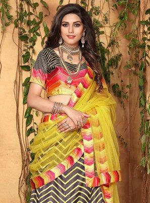 Multi Colour Mehndi Satin Designer Lehenga Choli