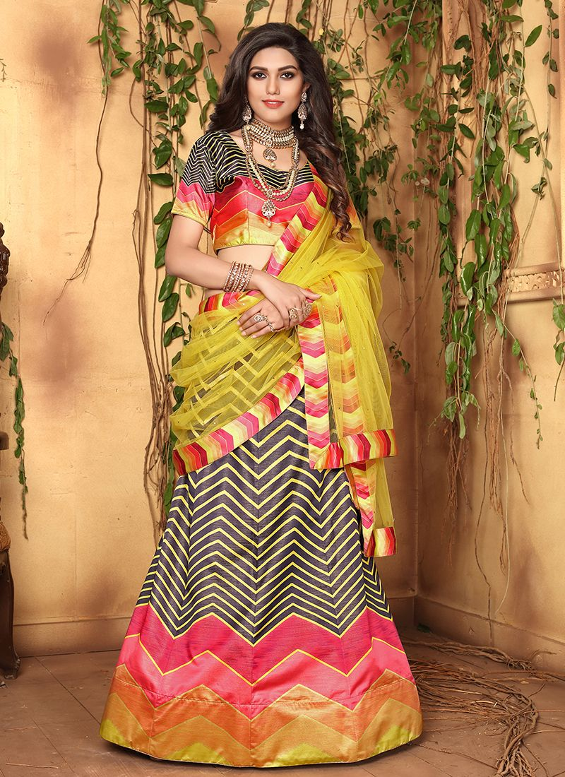Multi Colour Mehndi Satin Designer Lehenga Choli