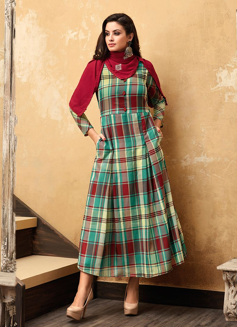Multi Colour Muslin Party Party Wear Kurti