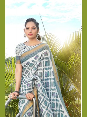 Multi Colour Net Abstract Print Printed Saree