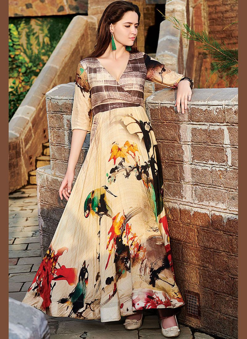 Multi Colour Party Cotton   Readymade Gown
