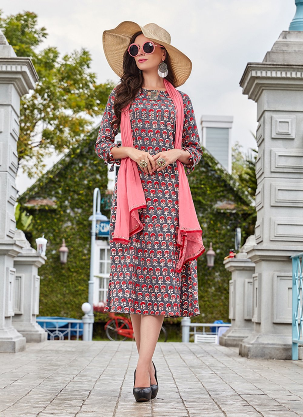 Multi Colour Party Fancy Fabric Party Wear Kurti