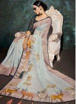 Multi Colour Party Linen Printed Saree