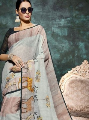 Multi Colour Party Linen Printed Saree