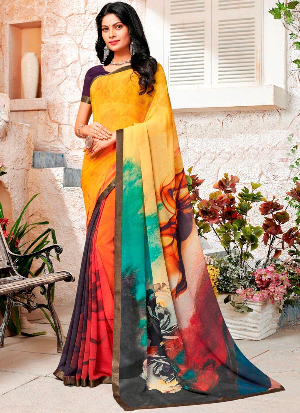 Multi Colour Party Trendy Saree