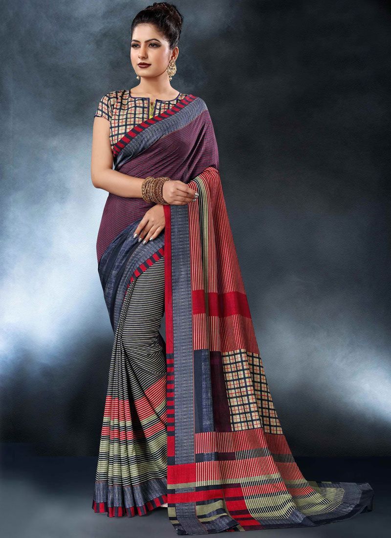 Multi Colour Party Tussar Silk Printed Saree
