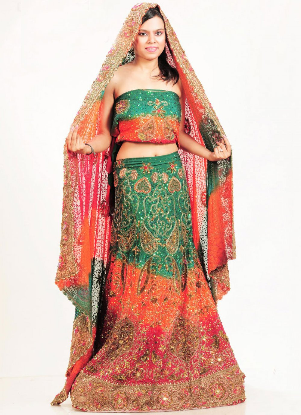 Multi Colour Patch Border Faux Crepe Lehenga Choli