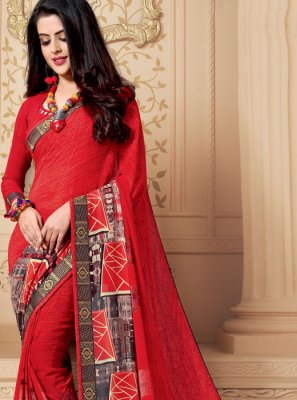 Multi Colour Patch Border Party Casual Saree