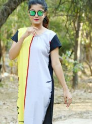 Multi Colour Plain Casual Casual Kurti