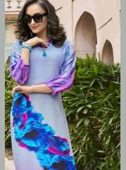 Multi Colour Poly Rayon Casual Kurti