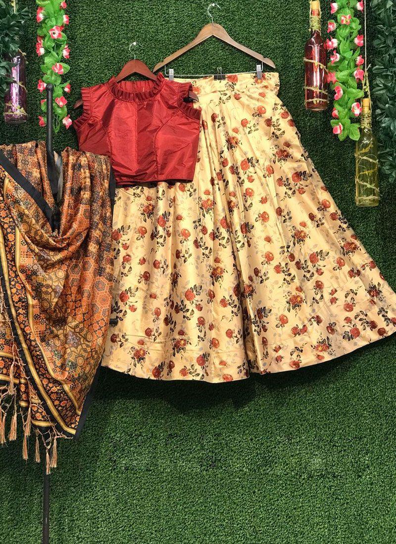 Multi Colour Print Art Silk Lehenga Choli